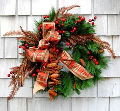 Christmas Wreath for the Door Pinecone Garland Dangle on a Lush Evergreen Pine Mix Base Plaid and Burlap Bow on Etsy, $59.99