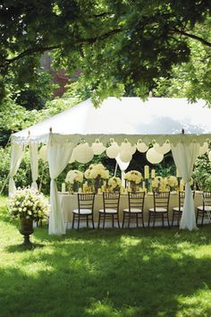"Brides who dream about an outdoor wedding will often reserve a big white wedding tent ""just in case it rains.Decor Ideas · Rustic night wedding tent reception under the stars. Wedding Tent Decorations, Marquee Decoration, Our Wedding, Dream Wedding, Wedding Ideas, Wedding Simple, Summer Wedding, Wedding Ceremony, Civil Wedding"