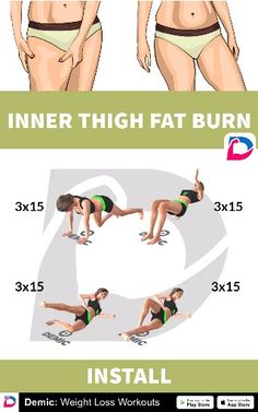 Inner Thigh Fat Burn - Home Workout Fitness Workouts, Fitness Workout For Women, Body Fitness, Butt Workout, Easy Workouts, Physical Fitness, Fitness Games, Fitness Couples, Fitness Motivation