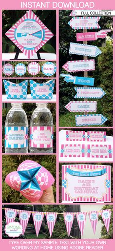 Instantly download my aqua & pink Carnival Party Printables, Invitations & Decorations! Personalize the templates easily at home & get your party started!