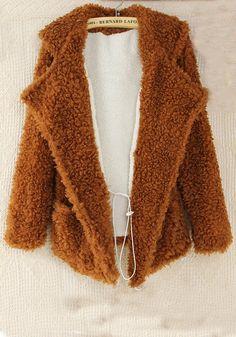 Brown Plain Fur Turndown Collar Long Sleeve Wool Blend Wool Coat