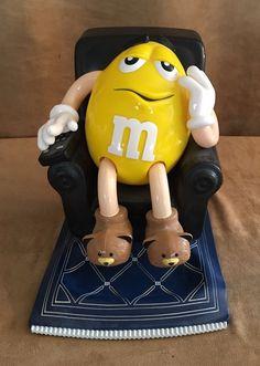 Vintage Yellow M&M peanut Black recliner Candy Dispenser Mars figure variant 99 #Mars