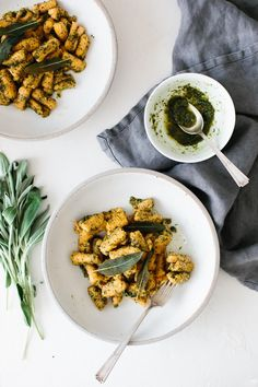 (gluten-free, paleo) Sweet potato gnocchi topped with a delicious sage walnut pesto. It's the perfect hearty and savory meal for fall and winter. Omit the garlic to keep this low FODMAP. Whole 30 Recipes, Healthy Dinner Recipes, Vegetarian Recipes, Paleo Dinner, Sweet Potato Gnocchi, Paleo Sweet Potato, Clean Eating Recipes, Cooking Recipes, Walnut Pesto