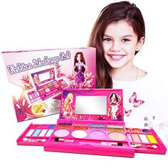 fda18cfd0 World Shop Princess Fashion Makeup Vanity Cosmetics Set - Washable Real Girl  Makeup Kit - Deluxe Cosmetic Palette with Mirror for Girls - Beauty  Cosmetics ...