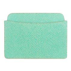 Shagreen Ben Flat Card Case - Aqua