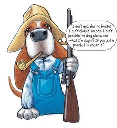 Yee-haw!  Bassett Hound Guard Dog