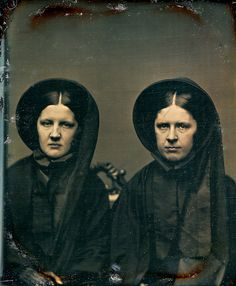 Identical Twins in Matching Mourning, 1/6th-Plate Daguerreotype, Circa 1855