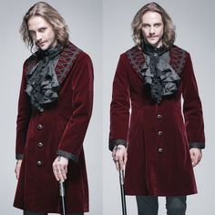 Antique Red Single Breasted Victorian Gothic Dress Trench Coat Men SKU-11401494
