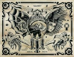 Bilderesultat for Paul Anthony Dobleman flash tattoo Traditional Tattoo Design, Traditional Tattoo Flash, Chest Piece Tattoos, Chest Tattoo, Tattoo Sketches, Tattoo Drawings, Desenhos Old School, Dessin Old School, Tatto Old