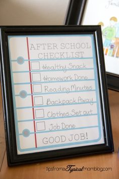 After School Checklist for Kids. Good idea for teens too.