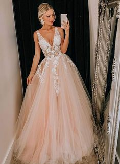 Pink v neck tulle lace long prom dress, pink evening dress