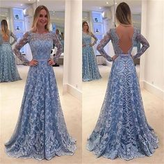 Lace Long Sleeves A-line Formal Party Cocktail Evening Long Prom Dresses Online - comigo