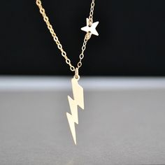 Lightning Bolt Necklace, Tiny Star Necklace, Gold or Silver Lightning Bolt Necklace, Everyday Jewelry, Thunderstorm Necklace by malizbijoux. Explore more products on http://malizbijoux.etsy.com