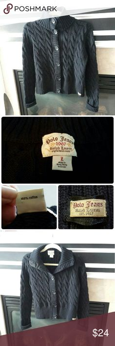 """Ralph Lauren Polo Jeans Sweater   Med/Large EUC Authentic Polo Jeans Ralph Lauren cotton sweater. Heavy weight, stretchable, long sleeves, large collar that can be worn up or down. Fits medium or large.  Very versatile and high quality. 19.5""""L, 14"""" shoulder to shoulder, 19"""" armpit to armpit. Smoke free and fragrance free home. Ralph Lauren Polo Jeans Sweaters Cardigans"""