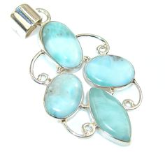 $56.44 Natural Blue Larimar Sterling Silver Pendant at www.SilverRushStyle.com #pendant #handmade #jewelry #silver #larimar