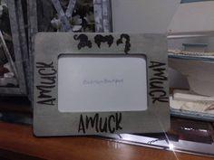 Festive Halloween Amuck Amuck Amuck Stand Alone Wood Frame / Gray Wash / Halloween Frame / Freestanding Frame