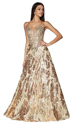 Cinderella Divine - Sequined Deep V-neck A-line Dress – Couture Candy Metallic Prom Dresses, Long Sequin Dress, Sequin Evening Dresses, Sequin Gown, Evening Gowns, Strapless Dress Formal, Manu Manu, Prom Long, Gowns With Sleeves