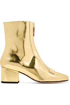 Heel measures approximately 50mm/ 2 inches Gold mirrored-leather Zip fastening along front Imported
