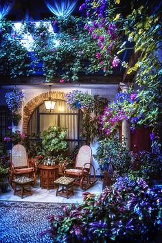 """Cordoba (Andalusia) is famous for its colourful """"patios"""" (courtyards). These hidden corners fight every May for being the most beautiful """"patio"""" in the city, so the spectacle is a sensorial delight. Outdoor Rooms, Outdoor Gardens, Outdoor Living, Outdoor Decor, Dream Garden, Home And Garden, Blue Garden, Beautiful Gardens, Beautiful Flowers"""