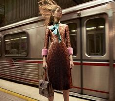 Pleated patterned dress + neck scarf // Gucci Fall 2015 Campaign Shot by Glen Luchford in Los Angeles, CA