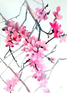 Cherry blossom original watercolor painting 20 X by ORIGINALONLY, $47.00