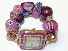 Purple Chunky Beaded Watch Interchangeable Watch by BeadsnTime