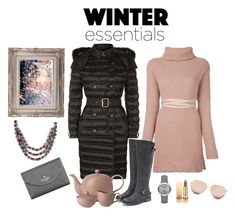 """We snow exactly what we need!"" by belairdesigns ❤ liked on Polyvore featuring Burberry, Valentino, JustFab, Kate Spade, Linda Farrow, Yves Saint Laurent, Royal Doulton, tea, winterstyle and pufferjacket"