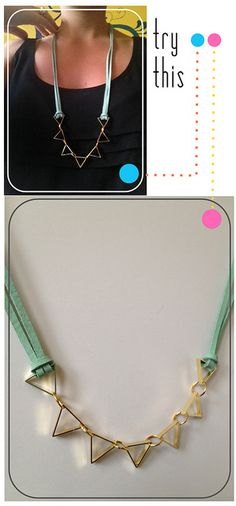 Necklace tutorial - minimal tools and skills needed to make this simple necklace. Love the gold with the turquoise  leather