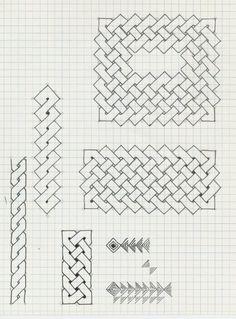 Graph Paper Drawings, Graph Paper Art, Doodle Drawings, Easy Drawings, Doodle Art, Blackwork Patterns, Celtic Patterns, Celtic Designs, Zentangle Patterns