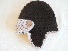 Crochet Baby Boy Hat Aviator Hat Chocolate and Oatmeal. $14.50, via Etsy.