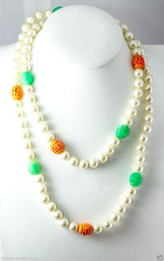 """Kenneth Jay Lane 42"""" baroque pearl/jade & coral necklace."""