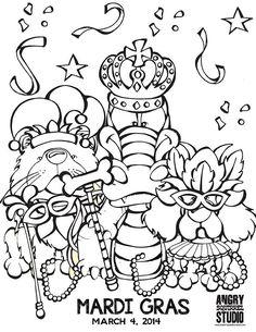 free mardi gras coloring page httpwwwangrysquirrelstudiocom
