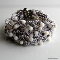 Gray Silk Beaded Crocheted Cuff Wide Thick di WillOaksStudio
