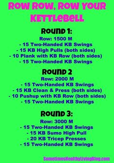 Row Row Your Kettlebell: Work lower body and upper body in this minutes workout! Rower Workout, Gym Workouts, At Home Workouts, Butt Workout, Wods Crossfit, Crossfit Baby, Kettlebell Training, Kettlebell Routines, Kettlebell Kings