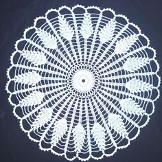 "Beautiful Hand Crocheted Doily White Wheat Pattern Scalloped Edge 15"" Nice"