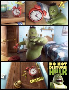 Comic about the wake up of the little Hulk