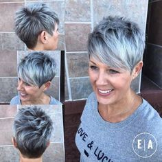 Spiky Gray Balayage Pixie For Women Over 50 - Kurzhaarfrisuren Short Pixie Haircuts, Short Hairstyles For Women, Cool Hairstyles, Grey Haircuts, Hairstyles 2018, Haircut Short, Short Hair Cuts For Women Pixie, Short Cuts, Wavy Pixie