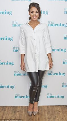 Vicky Pattison.. PrettyLittleThing Leni shirt dress, Chained&Able jewellery, and jeans c/o Honeyz.com..