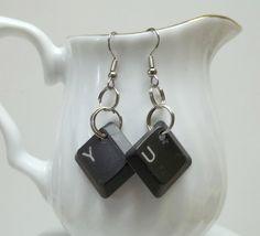 upcycled dark grey computer keys YU earrings by BeautyRecycled, $12.00