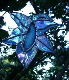 Orchid Stained Glass Flower Blue Original by GothicGlassStudio, $44.00
