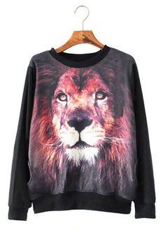 Lion Print Black Sweatshirt