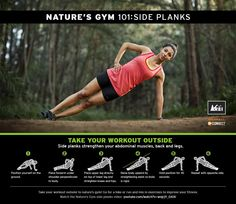 REI & Merrell Nature's Gym 101: Side Planks. Infographic excercises!