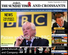 The Sunday Times and Croissants, Lord Patten to hand over control of BBC to OfCom, Intruder targets royal jewels in Palace Break in.