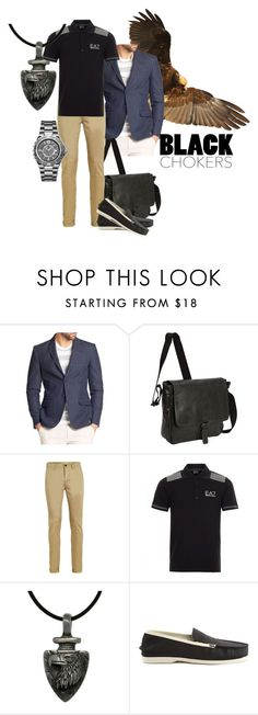 Where eagles fly by maria-kuroshchepova on Polyvore featuring EA7 Emporio Armani, Topman, Saks Fifth Avenue Collection, Sperry Top-Sider, Kenneth Cole Reaction, Carolina Glamour Collection, Allurez, men's fashion, menswear and blackchokers