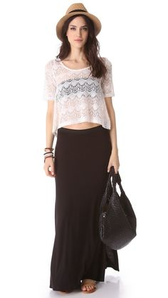 I like how comfy maxi skirts are but how they also super chic. The black one will go with almost any top.