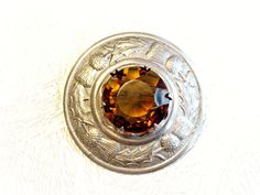 Vintage Cloak Pin Cairngorm Stone Celtic by ToadSuckTreasures