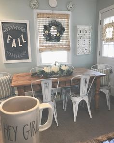 Modern Farmhouse Dining Room with Round Wooden Table and Round Cain Back Dining Chairs Dining Room Wall Art, Dining Room Design, Rustic Dining Rooms, Farm House Dinning Room, Room Art, Farmhouse Remodel, Farmhouse Decor, Modern Farmhouse, Farmhouse Style