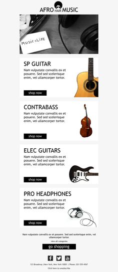 The Musical Campaign. #Ecommerce #EmailTemplates for #SmallBusinesses. #EmailMarketing