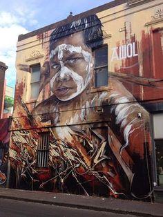 Adnate mural , street art in australia