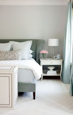 Blue grey bedroom/ this looks a little green, I would go with a truer blue and gray